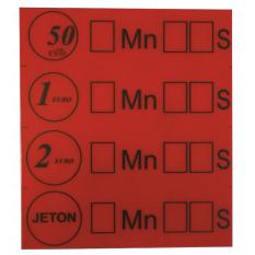 ADHESIF HYBIS PIECES ET JETON 67 X 75mm ROUGE